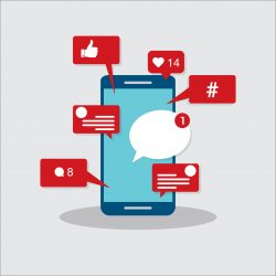 Viral content, social activity and smm - likes, shares and comments popping up on the mobile screen. Vector illustration.