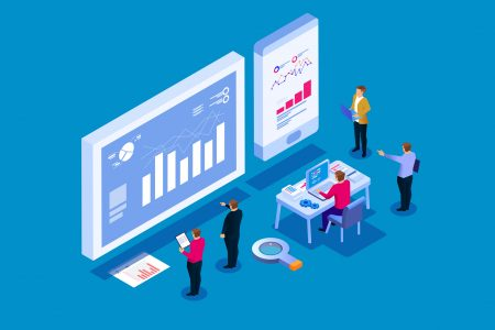 Team analysis of business reports, visual data analysis