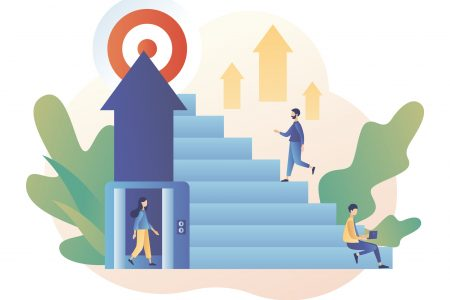 Efforts to achieve target. The metaphor different ways to achieve the goal. Tiny people choose a ladder or an elevator to success. Modern flat cartoon style. Vector illustration